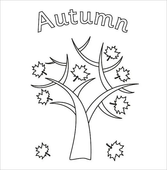 fall tree coloring page # 16