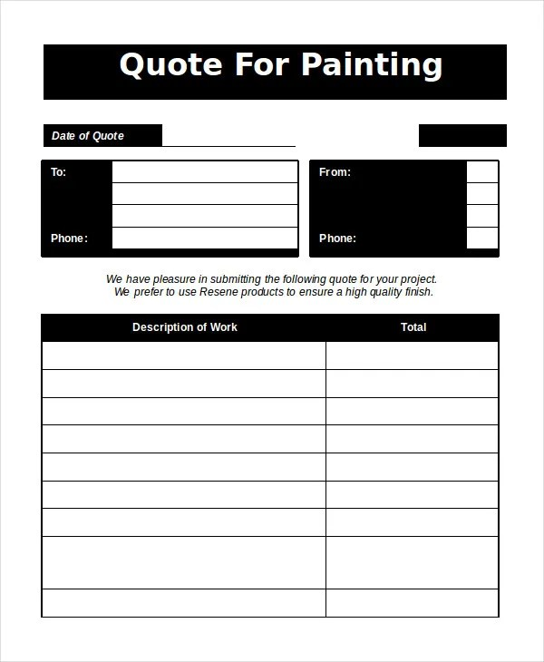 Painters Estimate Template. free kitchen and bath remodel. paint ...