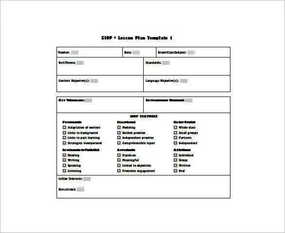 Siop Template English Language Year 1 Sample Lesson Plan