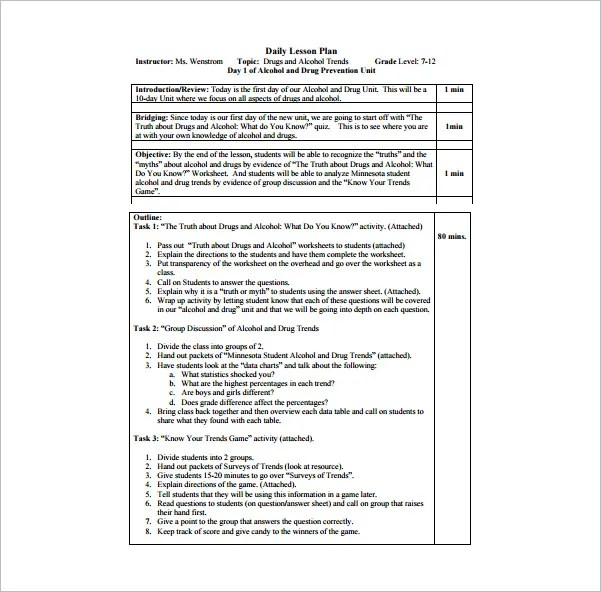 Daily Lesson Plan Template 15 Free Pdf Word Format