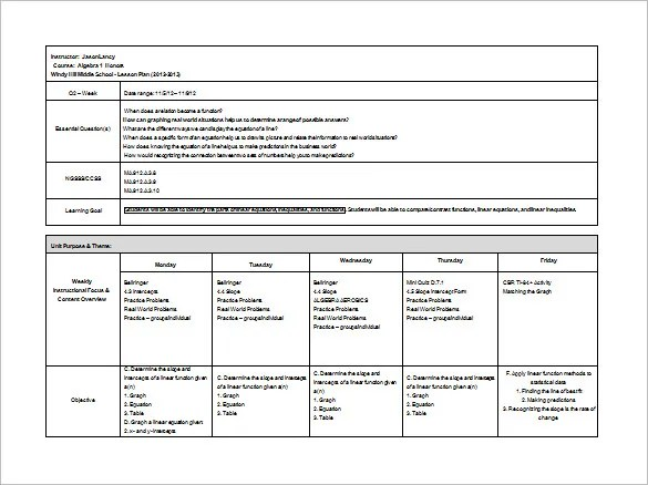 Middle School Lesson Plan Template 7 Free Word Excel