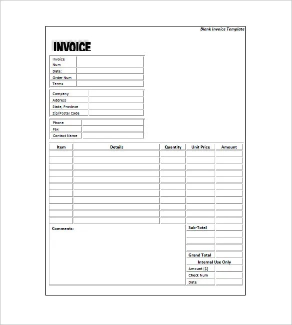 Generic Invoice Template 5 Free Word Excel Pdf Format