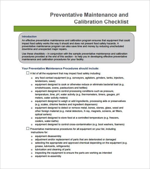 Preventive Maintenance Checklist Template Preventive