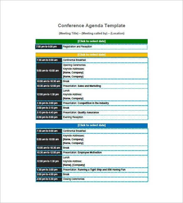Conference Agenda Template  Free Download