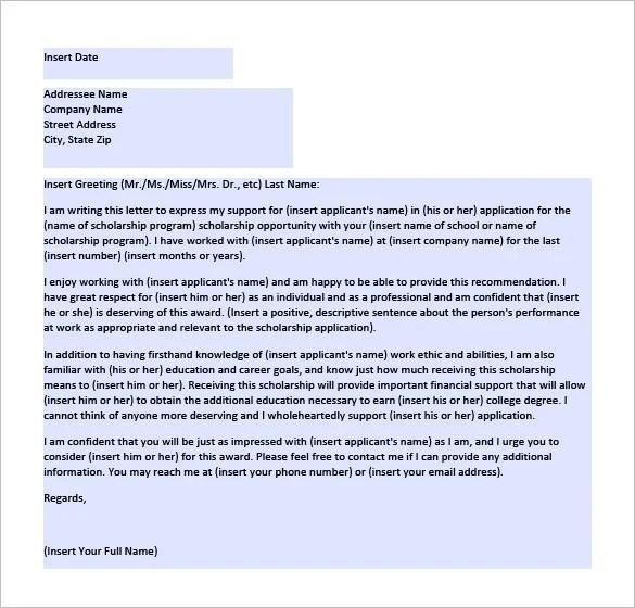 Recommendation Letter For Scholarship Sample Pdf
