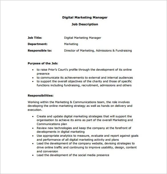 Apply Digital Marketing Executive Job Description Pdf In Usa