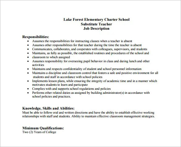 Substitute Teacher Job Description For Resume Long Term Substitute