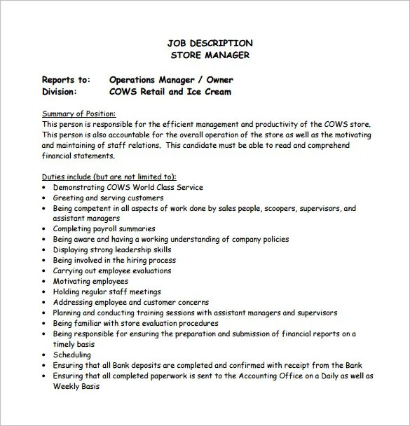 Operations Manager Job Description Resume - Template
