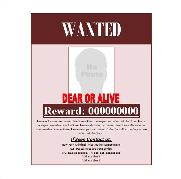Wanted Poster Template Word 13 free wanted poster templates – Printable Wanted Poster Template