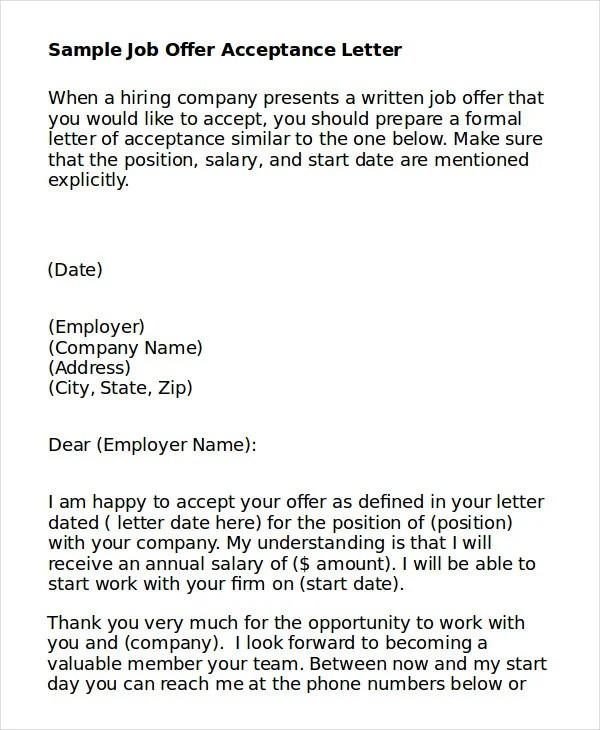 Sample job offer acceptance letter pdf cover letter sample job offer acceptance letter with conditions job acceptance letter 6 free word pdf doents spiritdancerdesigns Choice Image