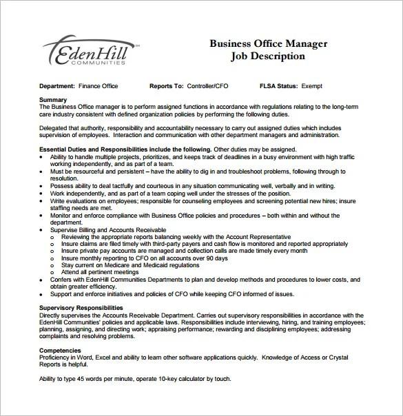 9 Office Manager Job Description Templates Free Sample