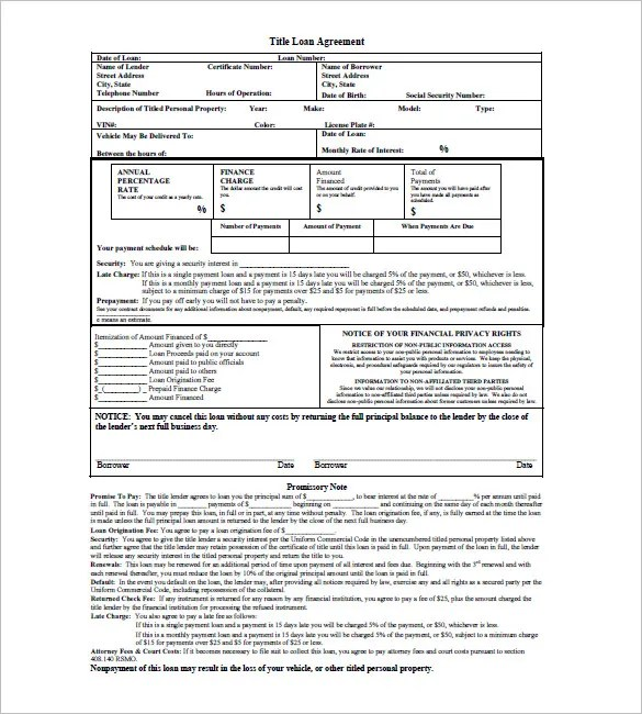 10 Loan Promissory Note Templates Free Sample Example