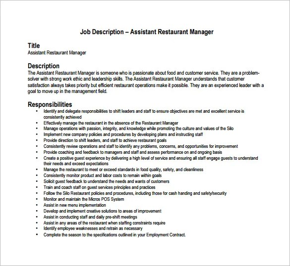 Restaurant Manager Job Duties Resume. Restaurant General Manager