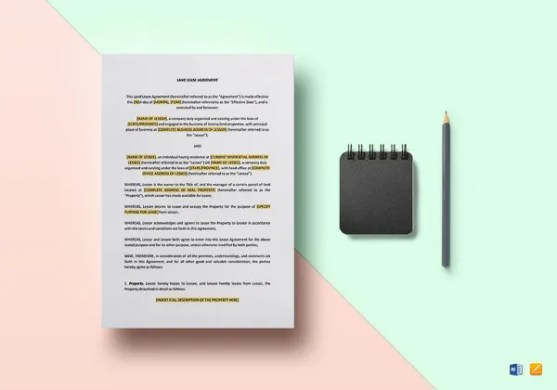 Agreement Template   27  Free Word  PDF Documents Download    Free     Land Lease Agreement Template in Google Docs