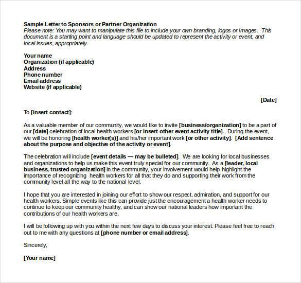 Sample Letter To Sponsors Or Partner Organization
