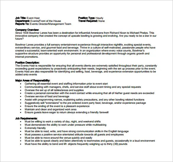 11 Hostess Job Description Templates Free Sample Example Format Download Free Amp Premium