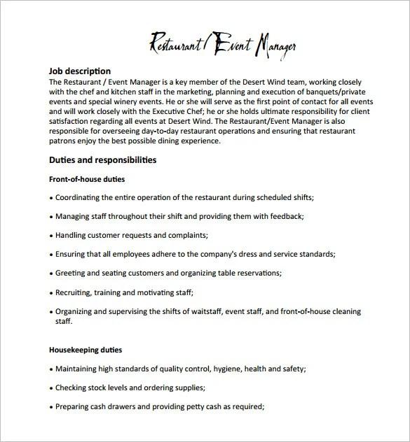 Fast Food Restaurants Job Description