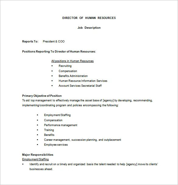 10 Human Resource Job Description Templates Free Sample Example Format Download Free