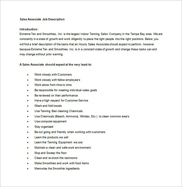 Sales associate job description for resume