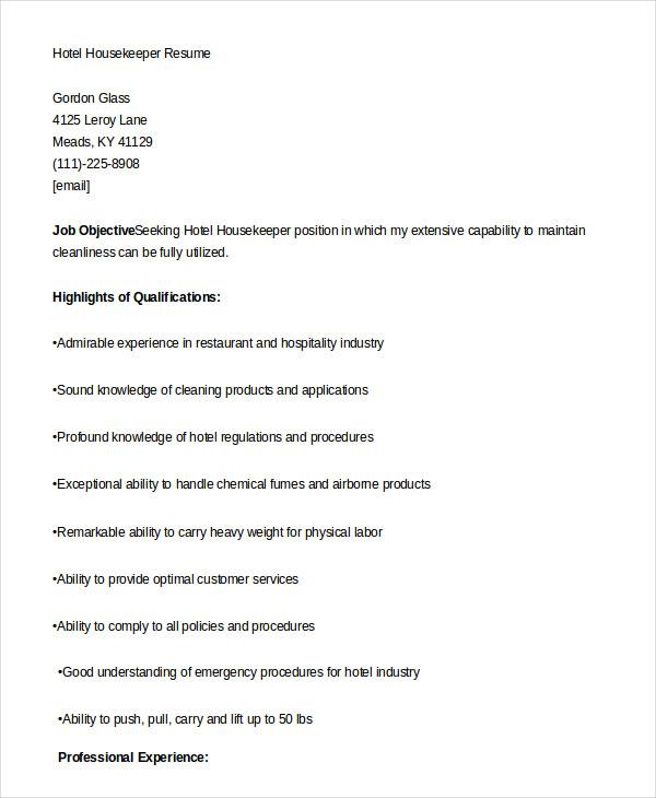 Resume Housekeeping Examples. Housekeeping Resume Examples Samples