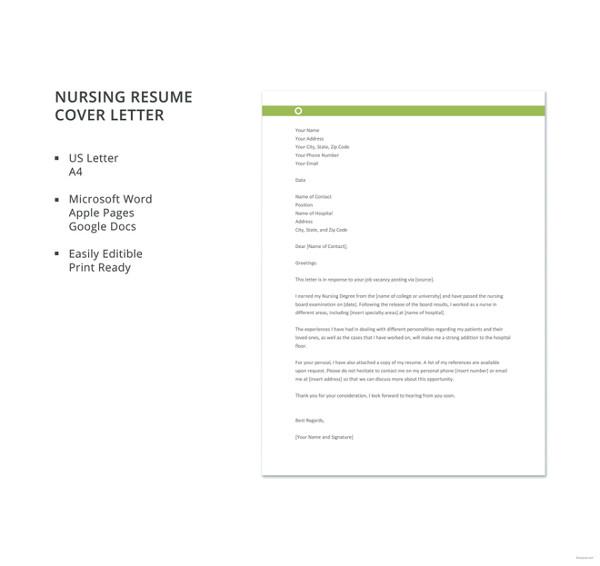 Nursing Cover Letter For Resume Resume Sample