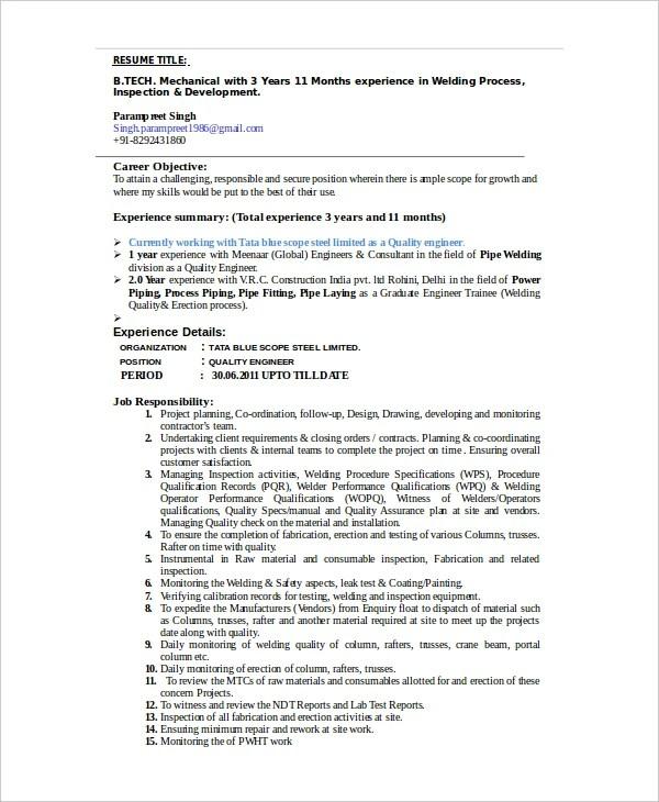 welder resume template 6 free word pdf documents download
