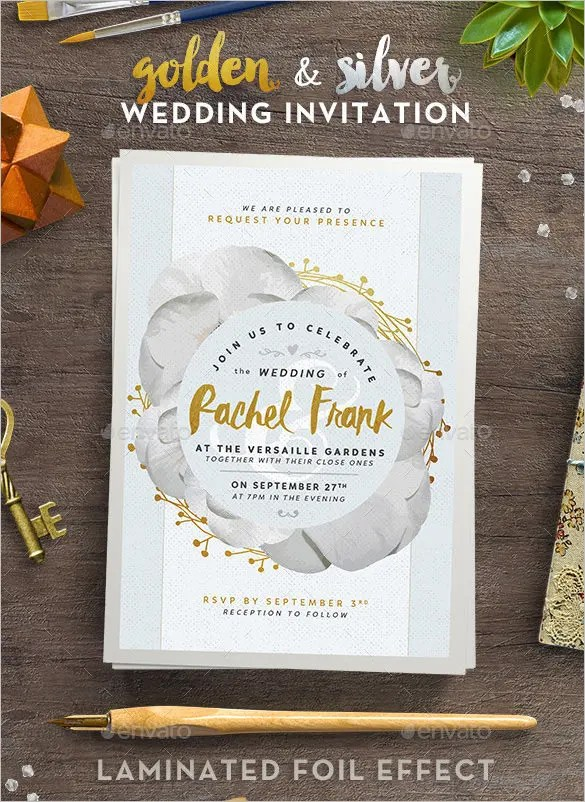 Golden And Silver Wedding Invitation Psd Format