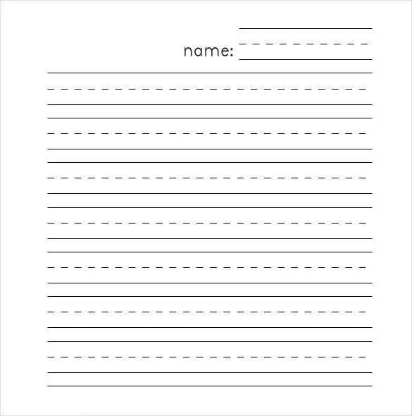 Lined Paper Template Landscape kindergarten writing lines clipart – Lined Paper Template Kids