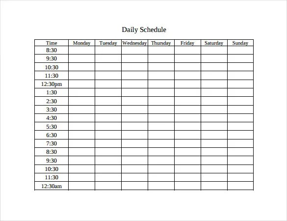 Weekly Time Table Template. plan the new year overviews year ...