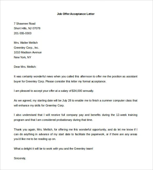 Sample Job Offer Letter For Internship  Docoments Ojazlink