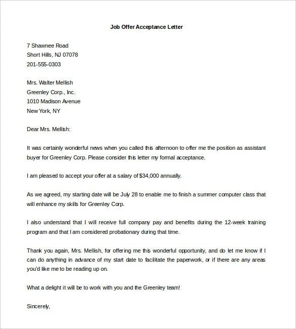 Job fer Acceptance Letter Job fer Negotiation Letter Best