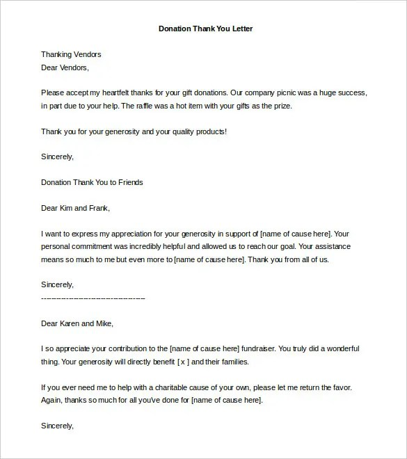 Contribution Letter Template Charitable