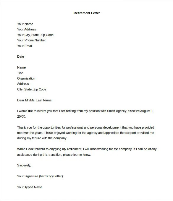employee thank you letter sle letter of retirement