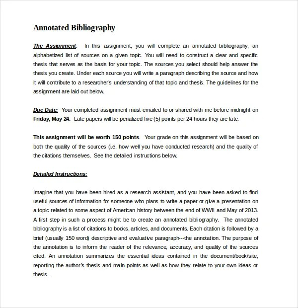 Annotated Bibliography Apa Word Template
