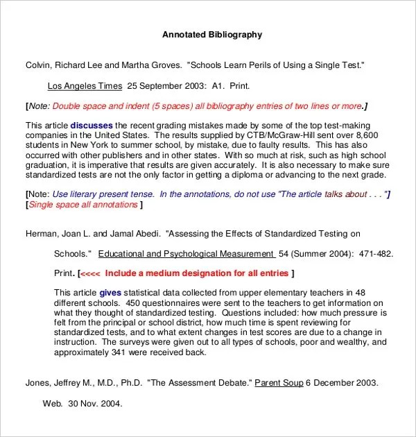 Annotations Examples Literary