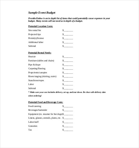 Sample Event Budget Template Camp 15