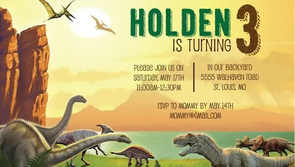 dinosaur birthday invitation designs