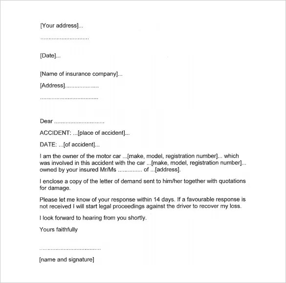 Sample Demand Letter Car Accident  Docoments Ojazlink