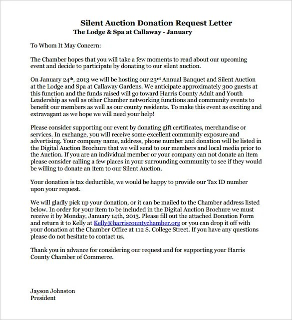 Sample Letter Asking For Donations Silent Auction | Docoments Ojazlink
