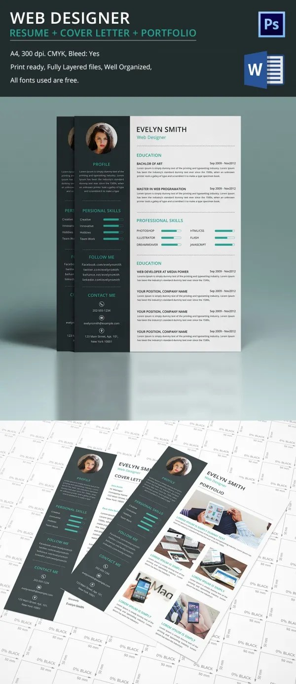 Web Designer Resume Cover Letter Portfolio Template For Fresher Amp Experienced Free