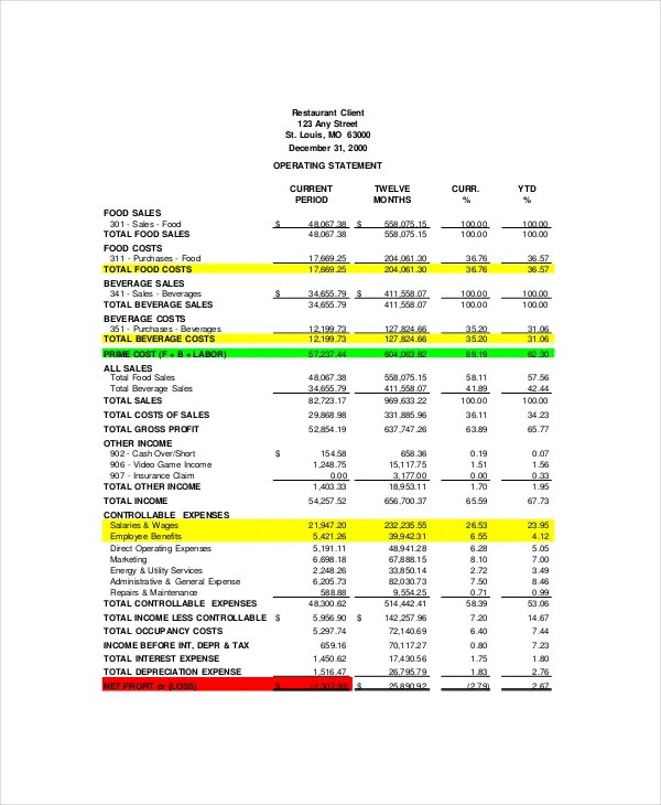 Financial Statement Template 12 Free Word Excel PDF Documents Download Free Premium