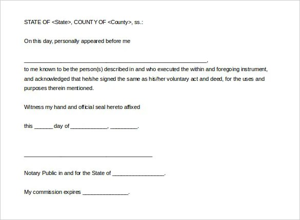 Notary Statement Template sample notary statement sample notary – Notary Template