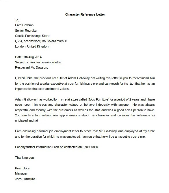 Character Reference Templates letter free word doc letter 2 – Reference Templates