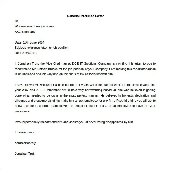 Reference Letter Template FREE DOWNLOAD - Free reference letter template for employment