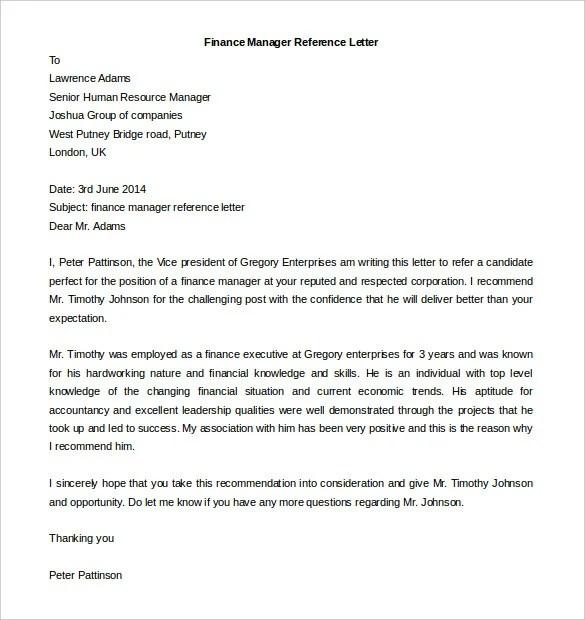 recommendation letter for finance manager cover letter