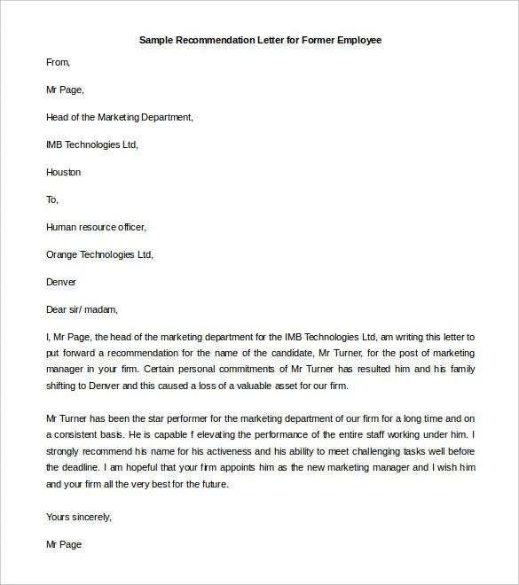 Former Employee Referral Letter Sample Co Worker
