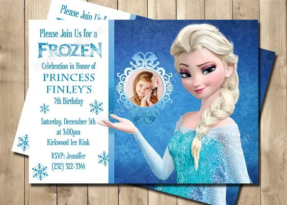 Frozen Birthday Invitation Snow Flakes Glitter Effect