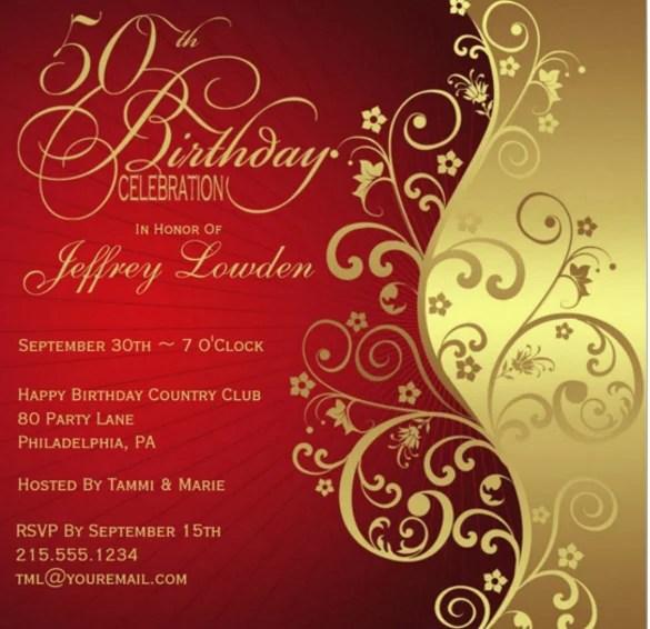 50th Birthday Invitation Cards PaperInvite