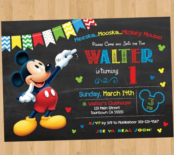 20 Mickey Mouse Birthday Invitation Templates Free Sample Example Format Download Free Premium Templates