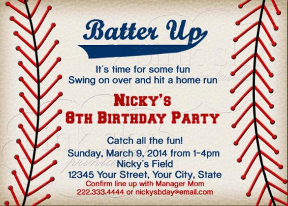 17 Baseball Birthday Invitations Psd Vector Eps Ai